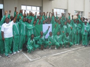 African Youth Athletic Championship: Team Nigeria, just arrived Warri, Delta State for the Championship. Photo by Frank Efe