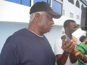 Mr. Sigha Porbeni, addressing pressmen in Warri City Stadium, Venue of the AYAC.