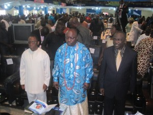 Delta State Governor, Dr. Emmanuel Uduaghan (middle), Delta State Deputy Governor, Prof. Amos Utuama (left) and Rev. Simeon Okah of Flock of Christ Mission during the occasion.