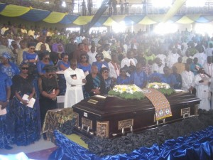 The Family of Late Senator Pius Ewherido and his casket during the valedictory section held in his honour at Uwviamuge, Agbarho.