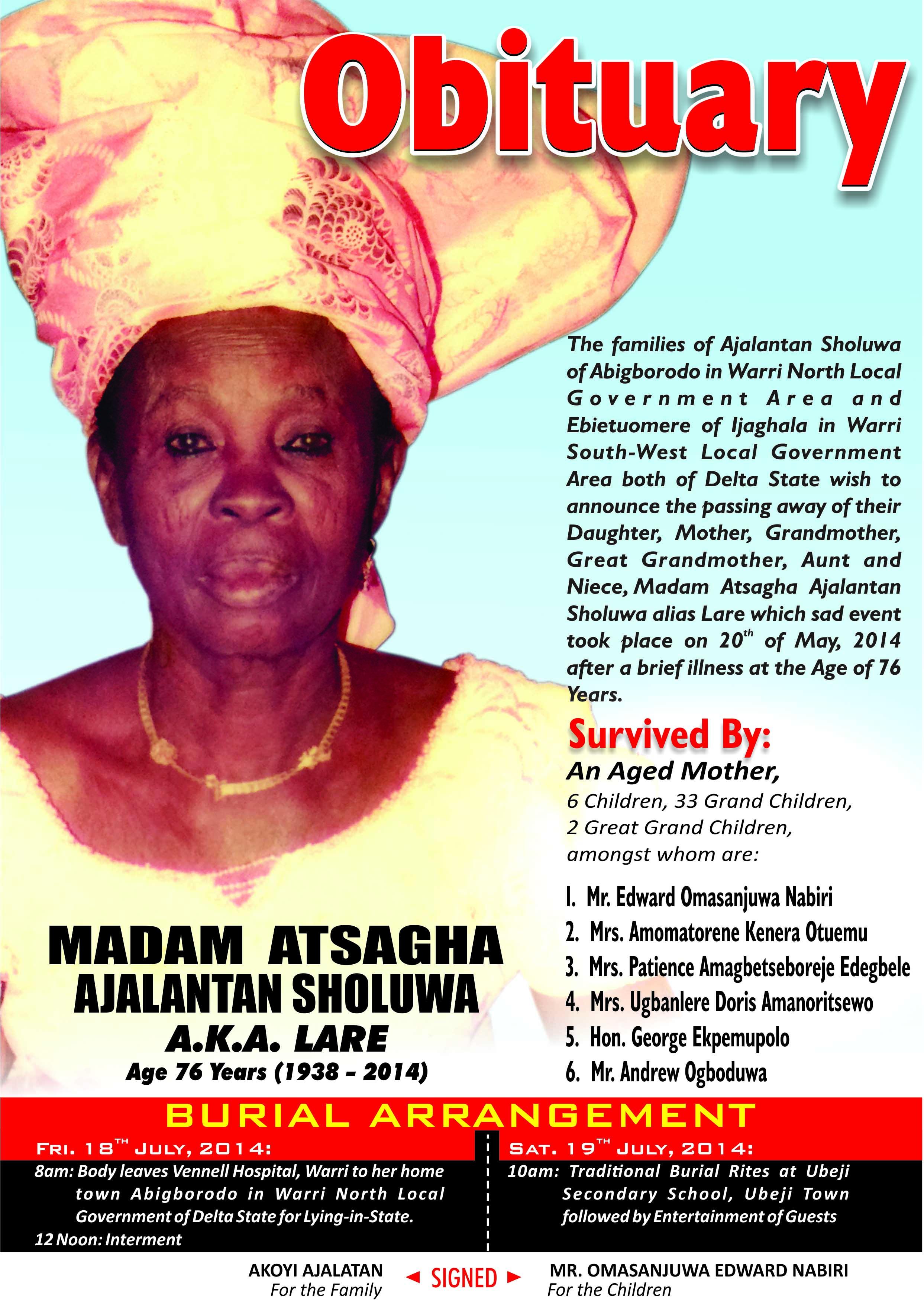 OBITUARY: MADAM ATSAGHA AJALANTAN SHOLUWA FOR BURIAL, JULY 18 &19 ...