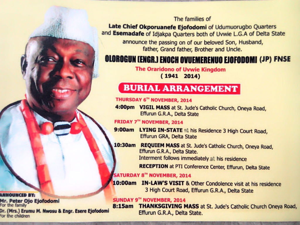 UPCOMING EVENT LATE CHIEF EJOFODOMI FOR BURIAL NOV 7 IN EFFURUN