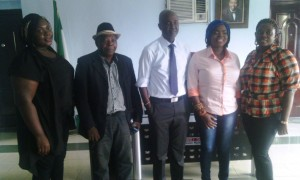 L-R: Misan Tosanwumi, Mr. Godfrey Tosanwumi, Hon. Mofe  Edema, Chairman Warri South Local Government Area, Ada Tosanwumi and Ete Tosanwumi during the visit.