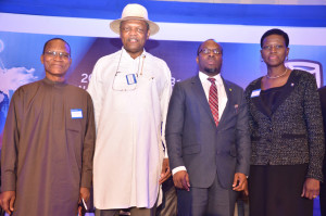 L-R: Director-General, Debt Management Office, Dr Abraham Nwankwo; Chairman, Stanbic IBTC, Atedo Peterside; Statistician General of the Federation/CEO, National Bureau of Statistics, Dr Yemi Kale; and Chief Executive, Stanbic IBTC Holdings Plc, Mrs Sola David-Borha, at the 7th edition of Standard Bank West Africa Investors' Conference, held at Eko Hotels and Suites, Lagos on Tuesday