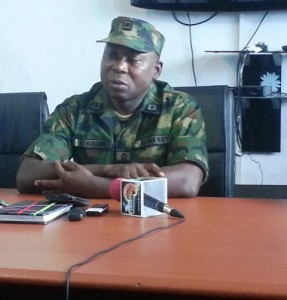 Commodore Raimi Mohammed, Commander, NNS Delta, addressing newsmen on the alleged killing of a middle-aged man in Gbaramatu Kingdom