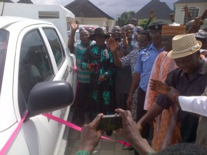 High Chief Idu Amadhe, PG IDU (2nd left), Hon Leo Ogor (3rd left) and others during the commissioning of the vehicles donated to vigilante groups in Isoko by Hon. Ogor.