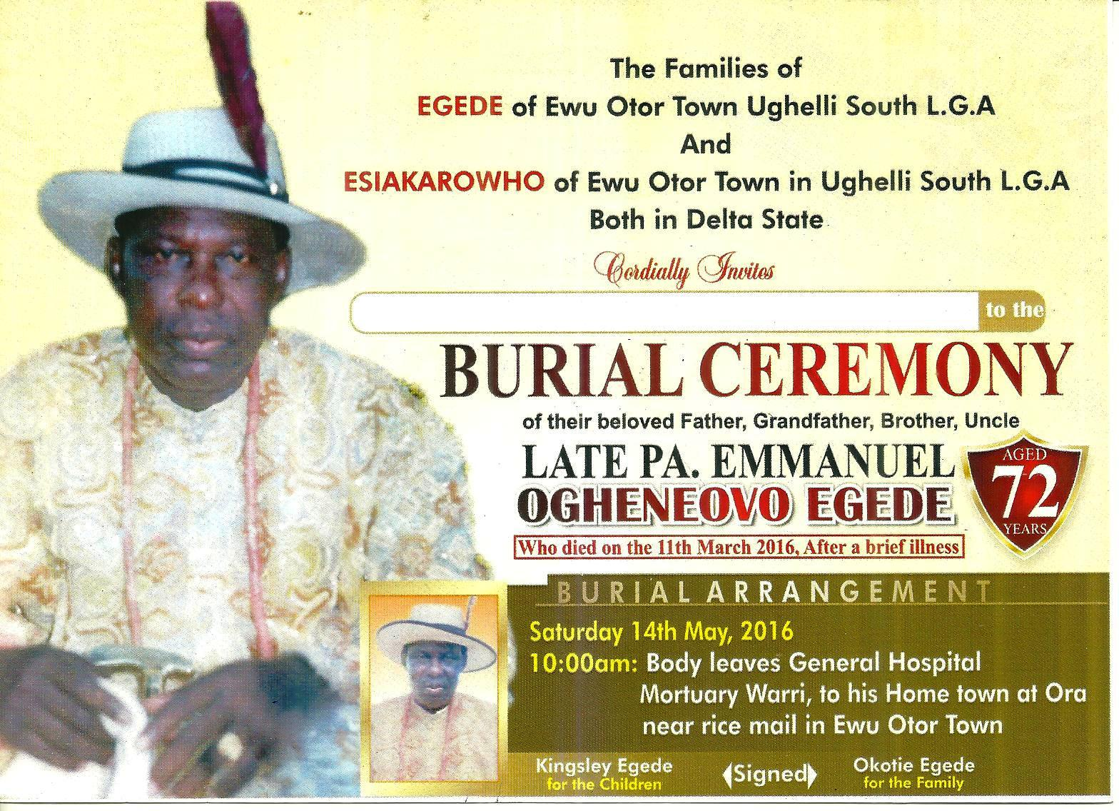 Abule Father Burial Ceremony Which Comes Up On The 14th May, 2016 @ HIs Home  Invitation For Funeral Ceremony