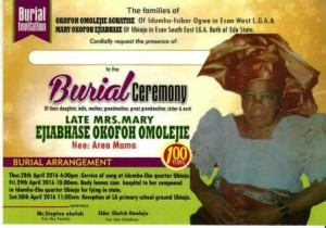 Centurion Mama: Late Mrs. Mary Ejiabhase Okofoh Omolejie (Nee Area Mama) For Burial, 29th April  2016