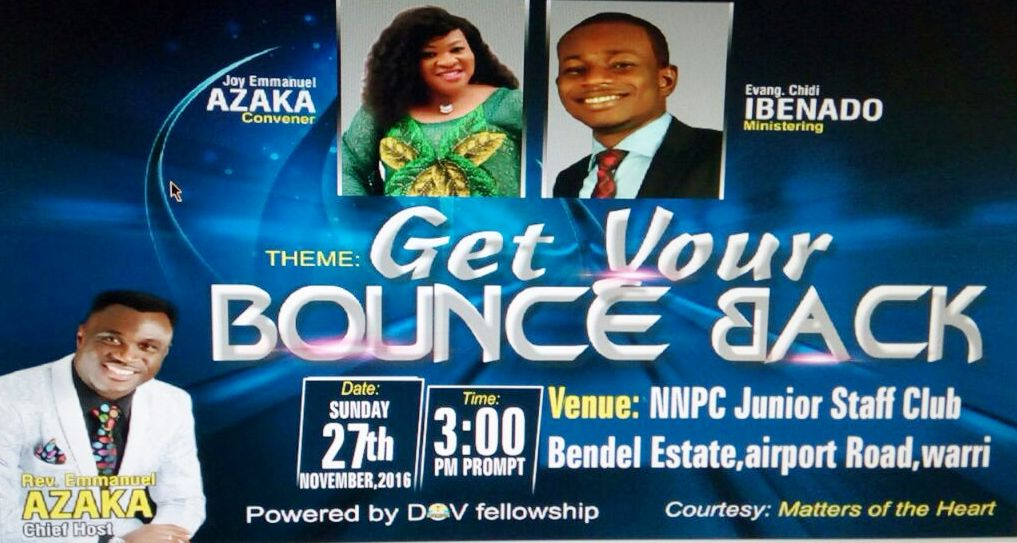 Balloons are useless without air. Footballs don't bounce until inflated. Man is not productive unless he reaches out to make some impact.. It's time to rise up to the challenge. Knocked down???? Its time to get your BOUNCE back. Sunday 27th November 3pm