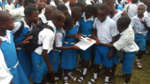 Some of these pupils admiring one of the books.