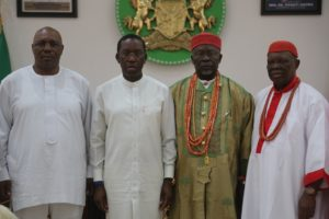 Delta State Governor, Senator Ifeanyi Okowa (2nd left); his Deputy, Barr. Kingsley Otuaro (left); Chairman, South-South Monarchs forum, His Royal Majesty, King Dr. Edmond Daukoru, Mingi XII Amayanabo of Nanobe Kingdom(2nd right) and Dr. Emmanuel Efezuomor the II, Obi of Owa Kingdom, during a courtesy call on the Governor, in Government House Asaba.