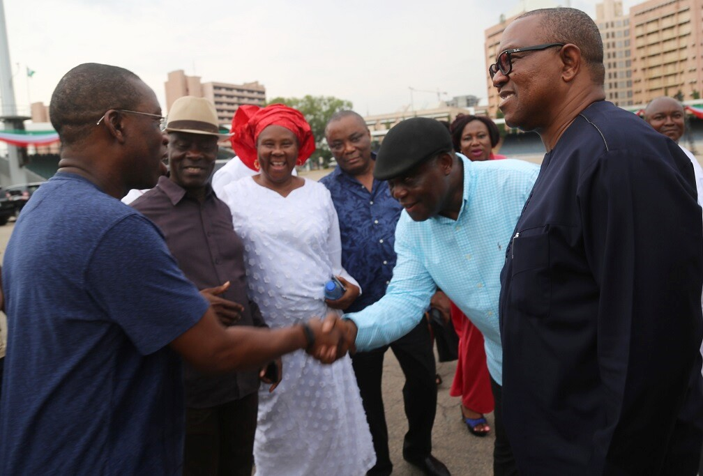 Delta State Governor, Senator Ifeanyi Okowa (left); former Governor of Anambra State, Peter Obi (right); High Chief Raymond Dokpesi (2nd right); Senator Peter Nwaoboshi (3rd right); Mrs. Josephine Anenih (3rd left) and Senator Nimi Amange, during the Inspection of Eagle Square Venue, for the PDP Convention at Abuja.
