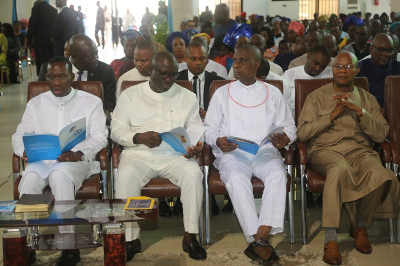 From Left: Delta State Governor, Senator Ifeanyi Okowa; Speaker of the State House of Assembly, Rt Hon Sheriff Oboriewore; the Chief Judge, Justice Marshall Umukoro and former acting Governor, Rt Hon Sam Obi
